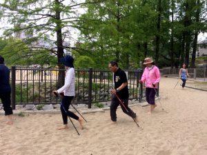 Walking Skip Running ビーチピラティス ノルディックウォーキング スキップ ランニング 大川 桜ノ宮ビーチ 写真